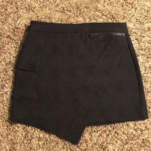High Waisted Black Snakeskin-Patterned Skirt